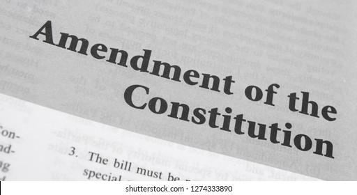 Maski,Karnataka,India - January 4,2019 : Amendment of the Constitution printed on book wiht large letters.