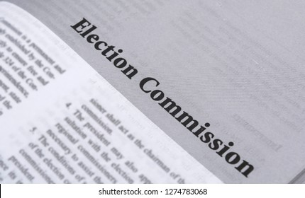 Maski,Karnataka,India - January 4,2019 : Election Commission printed in book with large letters.