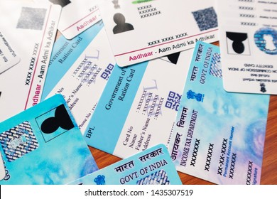 Maski,Karnataka,India - June 26, 2019: Aadhaar card, Ration card, Voter ID and Pan card which is issued by Government of India as an identity card