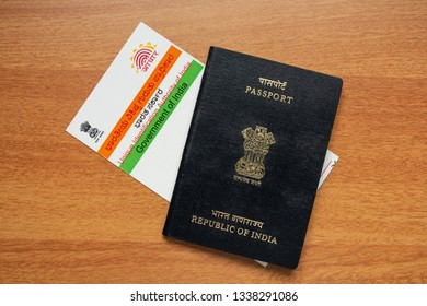 Maski,Karnataka,India - March 14,2019: Aadhaar card and passport which is issued by Government of India as an identity card to travel foreign