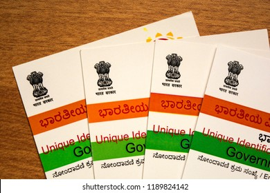 Maski,Karnataka,India -SEPTEMBER 27,2018: Aadhar card which is issued by Government of India as an identity card,