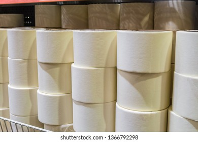 Masking tape rolls on the shelf in building market