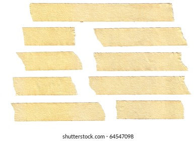 masking tape textures with varied length, isolated on white, set 2 of 2.