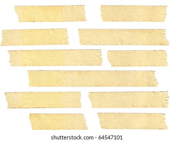 masking tape textures with varied length, isolated on white, set 1 of 2.