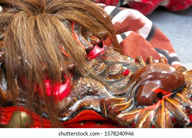 Masks of big snake or dragon used for Kagura. Kagura is a sacred Japanese dance and music ritual dedicated to the gods of Shinto mainly held in Iwami area of Shimane Prefecture in Japan