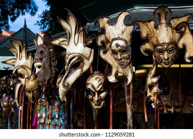 Masks for carnival on sale from street vender in Venice, Italy