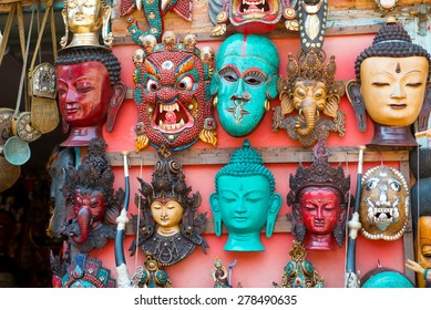 Masks, dolls and souvenirs in street shop at Durbar Square in Kathmandu, Nepal.