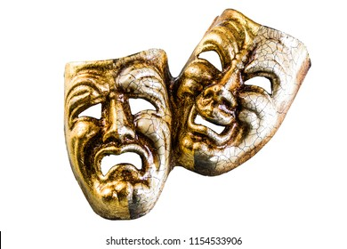 masks of good and evil lie on a white background