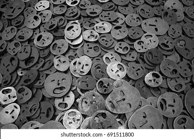 Masks on the floor (2) Berlin, Germany - August 1, 2016 Memory Void is a exposure of metal masks on the floor symbolizing the tragedy of the Holocaust - It is in the Jewish Museum in Berlin