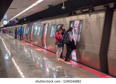 MASLAK - ISTANBUL - NOVEMBER 23, 2018: Subway at the Yenikapi-Haciosman line. Travel from Europe to Asia. TURKEY