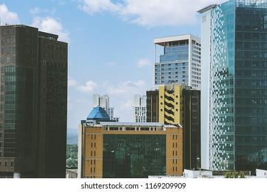 Maslak, istanbul Turkey. 8/7/2018. View of the trading center of Istanbul's trading center. Maslak Towers. / 7 ağustos 2018 istanbul'un  ticaret merkezi maslak kulelerinin görünümü