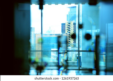 Maslak Sariyer Istanbul december 01.2018 Cross section of towers and business centers in Maslak area behind the glass.
