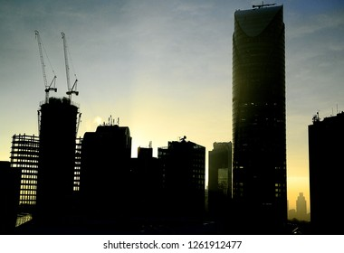 Maslak Sariyer istanbul - turkey december 01.2018 business centers and towers in Maslak region. silhouettes and sections