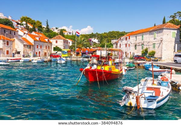 Maslinica, Solta Island, Croatia, 2010 JUNE 30: Marina in small village Maslinica in Solta Island. Nice and interesting tourist destinacjon