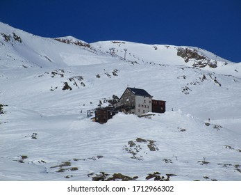 Maso Corto, Italy - 02 07 2019: view of the Rifugio Bellavista (Schone Aussicht in German), the hut on top of Val Senales which is a ski resort in winter and includes a spa