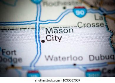 Mason City. USA on a map.