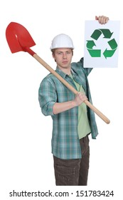 Mason holding spade and recycle poster