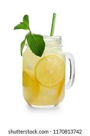 Mason jar of fresh lemonade on white background
