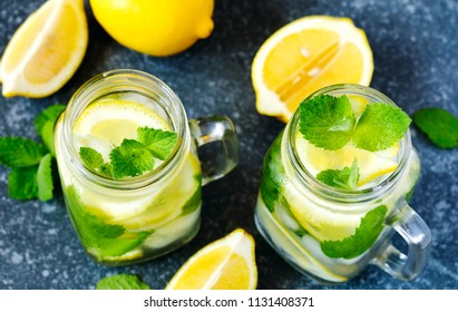 Mason jar glass of lemonade with mint on blue stone background, copy space