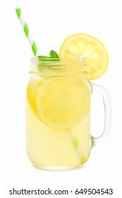 Mason jar glass of lemonade with straw isolated on a white background