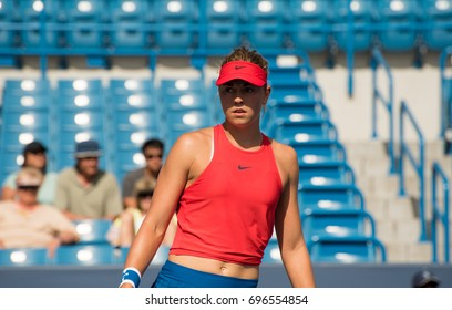 Mason, Ohio - August 13, 2017:  Carina Witthoeft in a qualifying match at the Western and Southern Open tennis tournament in Mason, Ohio, on August 13, 2017.