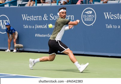 Mason, Ohio -  August 14, 2017:  Fabio Fognini in a first round match at the Western and Southern Open tennis tournament in Mason, Ohio, on August 14, 2017.