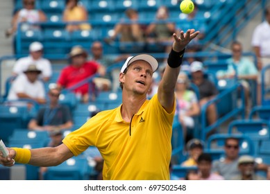 Mason, Ohio - August 15, 2017:  Tomas Berdych in a first round match at the Western and Southern Open tennis tournament in Mason, Ohio, on August 15, 2017.