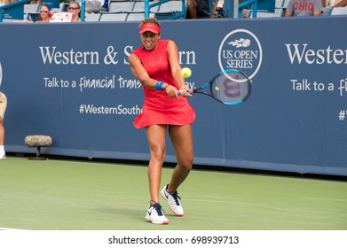 Mason, Ohio - August 16, 2017:  Madison Keys in a second round match at the Western and Southern Open tennis tournament in Mason, Ohio, on August 16, 2017.