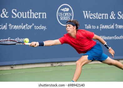 Mason, Ohio - August 16, 2017:  Jared Donaldson in a second round match at the Western and Southern Open tennis tournament in Mason, Ohio, on August 16, 2017.