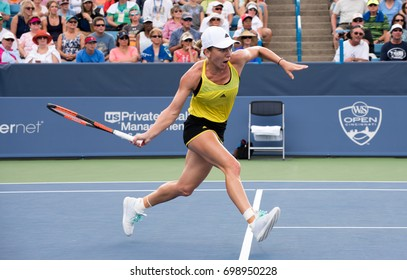 Mason, Ohio - August 17, 2017:  Simona Halep in a round of 16 match at the Western and Southern Open tennis tournament in Mason, Ohio, on August 17, 2017.