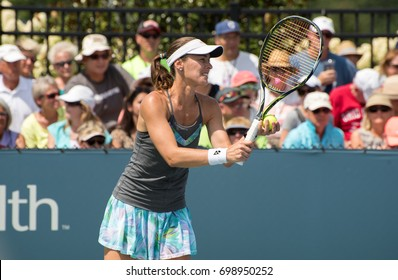 Mason, Ohio - August 17, 2017:  Martina Hingis in a doubles match at the Western and Southern Open tennis tournament in Mason, Ohio, on August 17, 2017.