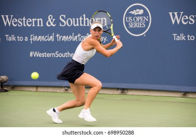 Mason, Ohio - August 17, 2017:  Caroline Wozniaki in a round of 16 match at the Western and Southern Open tennis tournament in Mason, Ohio, on August 17, 2017.