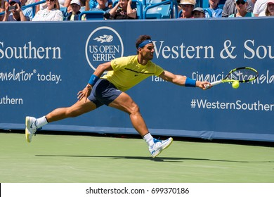 Mason, Ohio - August 18, 2017:  Rafael Nadal in a round of 16 match the Western and Southern Open tennis tournament in Mason, Ohio, on August 18, 2017.