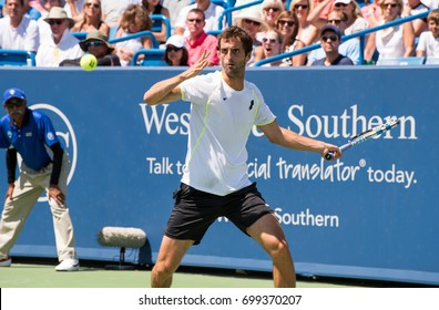 Mason, Ohio - August 18, 2017:  Albert Ramos-Vinolas in a round of 16 match the Western and Southern Open tennis tournament in Mason, Ohio, on August 18, 2017.