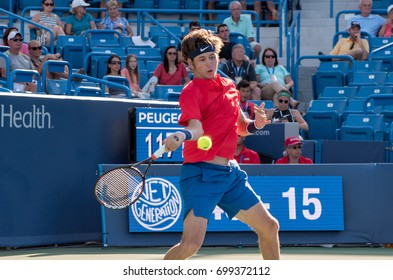 Mason, Ohio - August 18, 2017:  Jared Donaldson in a round of 16 match the Western and Southern Open tennis tournament in Mason, Ohio, on August 18, 2017.
