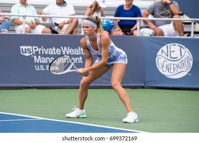 Mason, Ohio - August 18, 2017:  Camila Giorgi in a round of 16 match the Western and Southern Open tennis tournament in Mason, Ohio, on August 18, 2017.