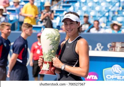 Mason, Ohio - August 20, 2017:  Garbine Muguruza with her trophy for winning the Western and Southern Open tennis tournament in Mason, Ohio, on August 20, 2017.
