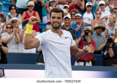 Mason, Ohio - August 20, 2017:  Grigor Dimitrov celebrates winning the championship match at the Western and Southern Open tennis tournament in Mason, Ohio, on August 20, 2017.