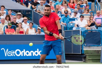 Mason, Ohio - August 20, 2017:  Nick Kyrgios in the championship match at the Western and Southern Open tennis tournament in Mason, Ohio, on August 20, 2017.