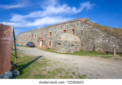 MASONE, ITALY, SEPTEMBER 28, 2017 - Geremia fort is a military fortress of western Ligurian Apennines, Genoa (Genova) inland and province, Italy