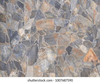 masonry slate facade wall background with cement joints antique