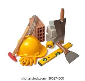 masonry tools on white background