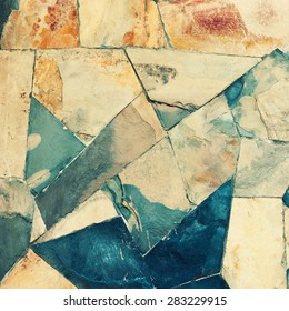 Masonry Wall of Stones Granite with irregular pattern, wall texture. Toned