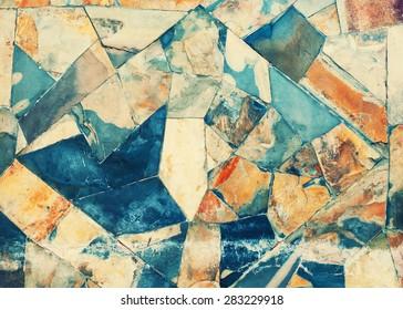 Masonry Wall of Stones with Irregular Pattern. Wall Texture.Toned