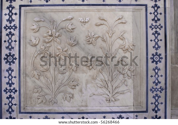 Masonry in white marble in the Rambagh Palace of Jaipur, India