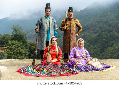 MASOULEH, IRAN - OCTOBER 05, 2014: Traditional celebrations during Eid al-Adha in the mountain village of Masouleh, Northern Iran