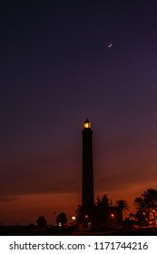 Maspalomas Lighthouse at sunset , Canary Islands, Spain