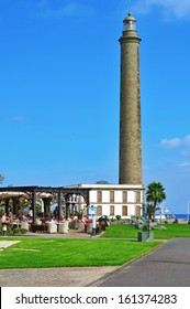 MASPALOMAS, SPAIN - OCTOBER 10: Maspalomas Lighthouse on October 10, 2013 in Maspalomas, Gran Canaria, Canary Islands, Spain. This lighthouse is a landmark in this important winter tourist destination