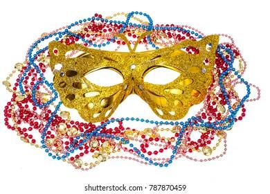 Masquerade accessories for Mardi Gras parties. Studio Photo