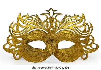 Masquerade Carnival Face Eye Mask. Golden, Isolated on  White